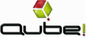 Qube! logo white background on website